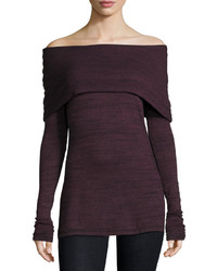 Alexandra off the shoulder long sleeve top vintage wine medium 832118