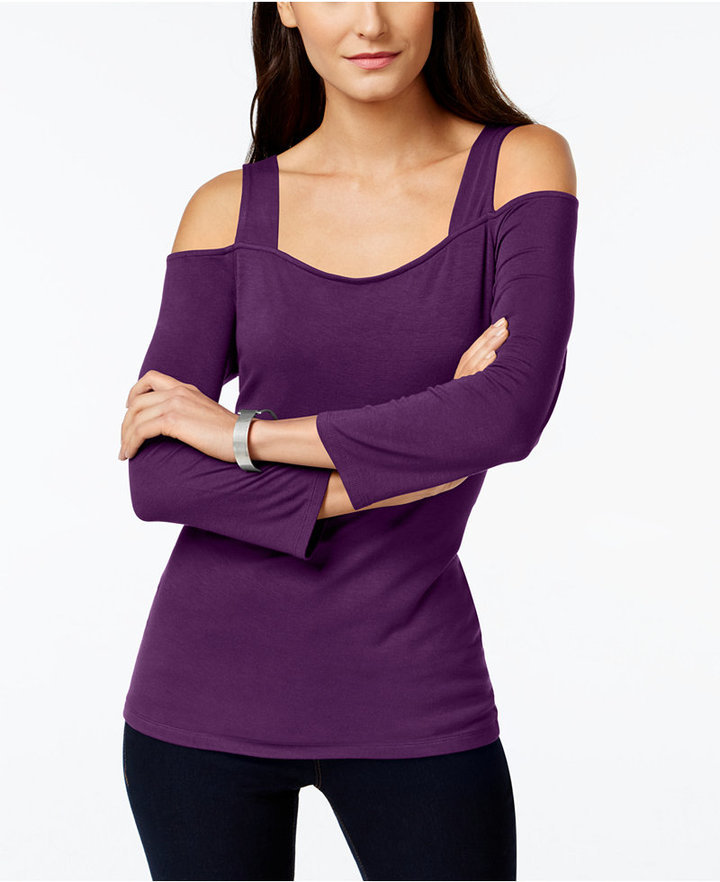 9ad9ff8b281e95 ... Purple Off Shoulder Tops INC International Concepts Cold Shoulder Top  Only At Macys ...