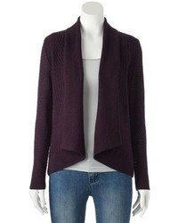 Dark Purple Open Cardigan