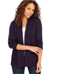 Karen Scott Luxsoft Long Sleeve Cable Knit Cardigan