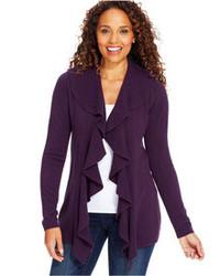 Karen Scott Luxsoft Long Sleeve Ruffled Open Front Cardigan