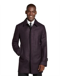 Canali Violet Wool Three Quarter Overcoat