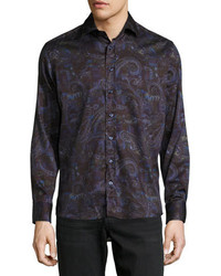 Etro Multi Paisley Print Long Sleeve Sport Shirt Purple