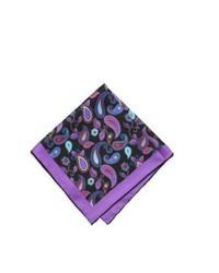 Neiman Marcus Original Paisley Silk Pocket Square Blackpurple