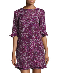 Cece By Cynthia Steffe Clara Paisley Print Shift Dress Plum