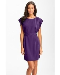 Eliza J Drape Sleeve Sash Belt Dress Purple 14