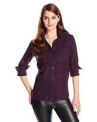 Dark Purple Plaid Dress Shirts for Women | Women's Fashion