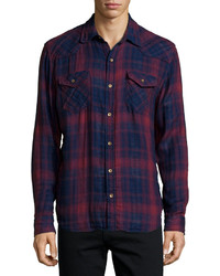 True Religion Orpheum Plaid Long Sleeve Shirt Red