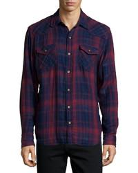 True Religion Orpheum Plaid Long Sleeve Shirt Red