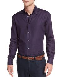 Plaid long sleeve sport shirt burgundy medium 641975