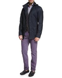 Plaid long sleeve sport shirt purple medium 609997