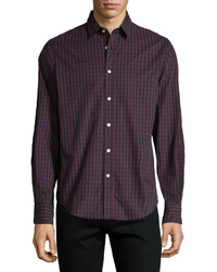 Rag and Bone Rag Bone Tartan Plaid Long Sleeve Sport Shirt Dark Red
