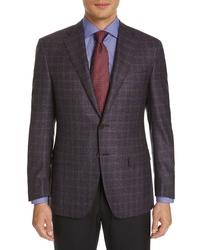 Canali Sienna Classic Fit Plaid Wool Sport Coat