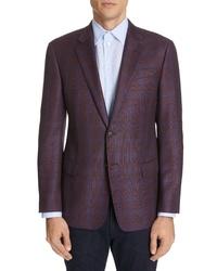 Emporio Armani Trim Fit Plaid Wool Sport Coat