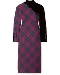 Marc Jacobs Embellished Tartan Wool And Velvet Midi Dress