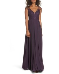 Hayley Paige Occasions Mixed Media A Line Gown