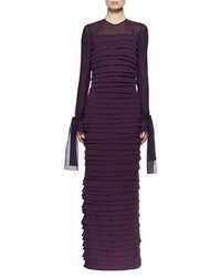 Tom Ford Long Sleeve Pleated Chiffon Gown
