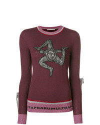 Dark Purple Print Crew-neck Sweater