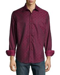 Dark Purple Print Long Sleeve Shirt