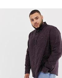 Burton Menswear Big Tall Oxford Shirt In Burgundy Geo