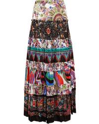 Roberto Cavalli Tiered Printed Cotton Voile Maxi Skirt Purple