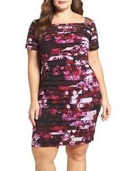 Adrianna Papell Plus Size Illusion Yoke Print Shutter Pleat Sheath Dress