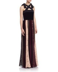 Lanvin A Line Mixed Print Gown