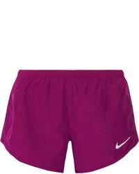Nike Dry Tempo Mesh Trimmed Printed Shell Shorts Plum