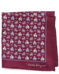 Salvatore Ferragamo Elephant Print Silk Pocket Square