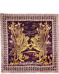 Valentino Printed Silk Twill Scarf Burgundy