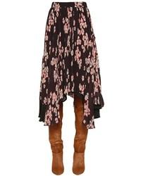 Isabel Marant Floral Printed Plisse Silk Skirt