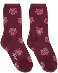 Kenzo Burgundy Tiger Socks