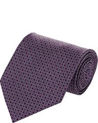 Brioni Geometric Print Satin Necktie Red