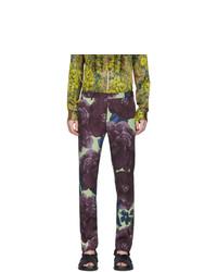 Dries Van Noten Purple And Green Wool Patrini Trousers