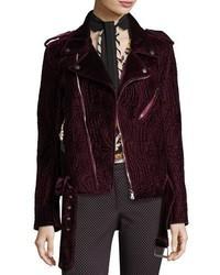 Etro Quilted Velvet Moto Jacket Purple