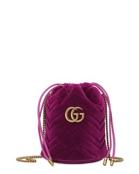 Gucci Mini Gg Marmont 20 Quilted Velvet Bucket Bag