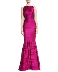 Kay Unger New York Tiered Stretch Satin Mermaid Gown Burgundy