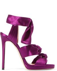 Jimmy Choo Kris Knottted Satin Sandals Purple