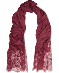 Valentino Lace Paneled Modal And Cashmere Blend Scarf Burgundy