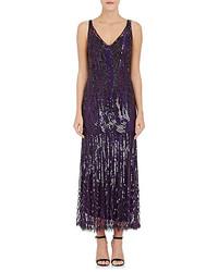 Dark Purple Sequin Evening Dress