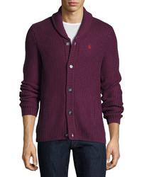 Original Penguin Waffle Knit Button Front Sweater Italian Plum