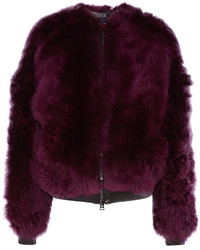 Tom Ford Leather Trimmed Shearling Bomber Jacket Purple