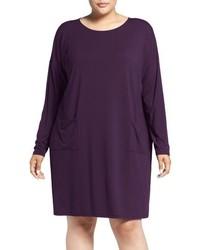 Eileen Fisher Plus Size Ballet Neck Jersey Shift Dress