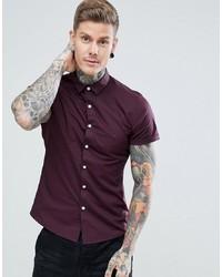 ASOS DESIGN Slim Short Sleeve Shirt In Burgundy