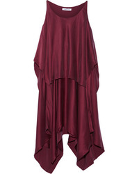 Elizabeth and James Greer Asymmetric Layered Brushed Silk Satin Dress Burgundy