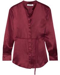 Elizabeth and James Wiley Silk Satin Shirt Burgundy