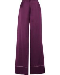 ... Roksanda Oldridge Silk Satin Wide Leg Pants Plum
