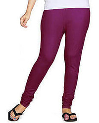 Shrushti Super Soft Shinker Leggings Solid Medium Red Violet Lycra Cotton Xxlarge Set Of 3