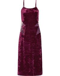 Anna Sui Starburst Crushed Velvet Slip Dress Purple
