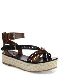 Burberry Malthouse Studded Multicolor Leather Platform Espadrille Sandals